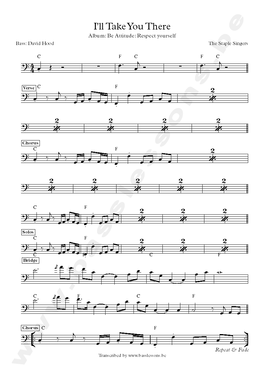 Bass transcription of The Staple Singers I'll take you there