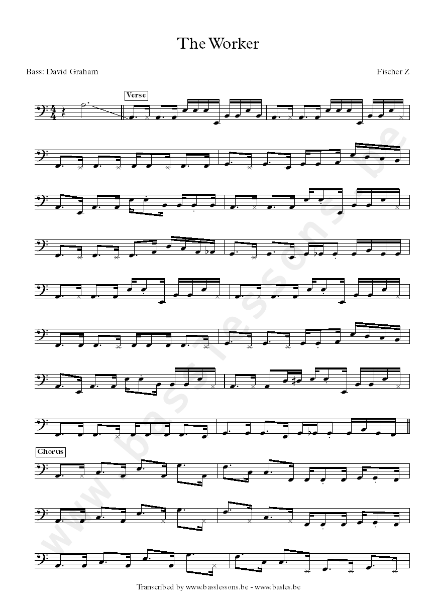 Fischer Z The Woker bass transcription