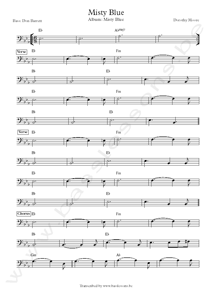 Misty Blue Bass Transcription and chords