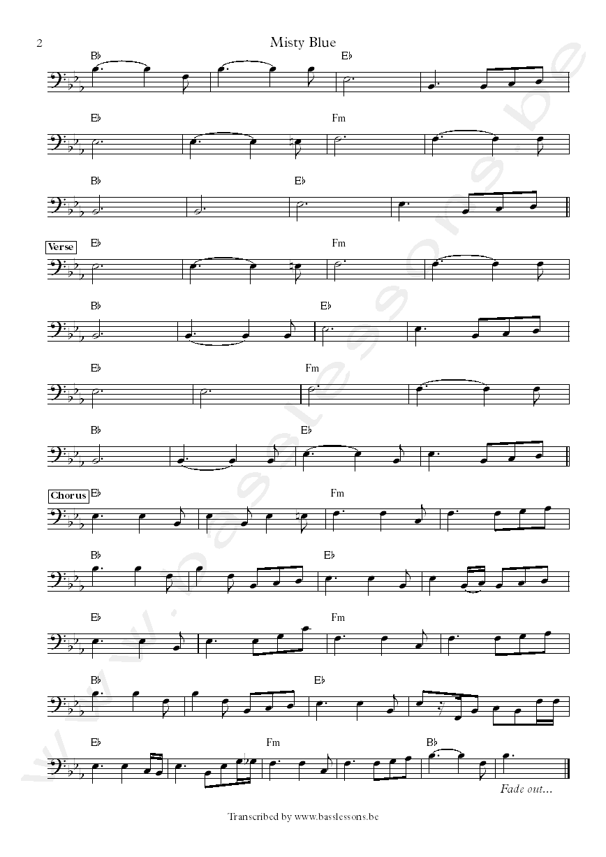 Dorothy Moore misty blue bass transcription and chords