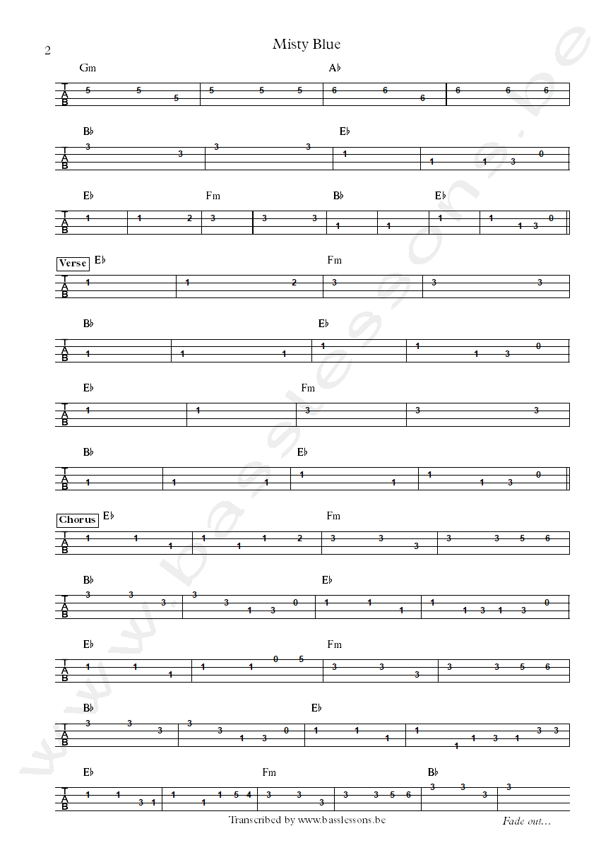 Dorothy Moore misty blue bass tab and chords
