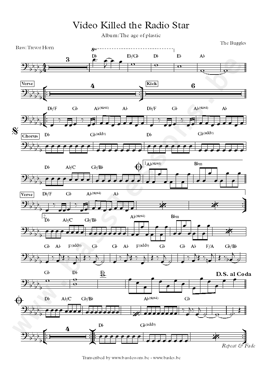The buggles - video killed the radio star bass transcription