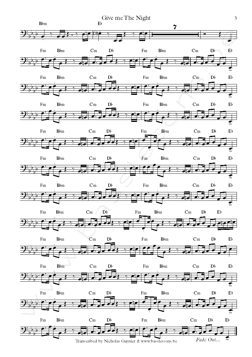 Bass Transcription of Give me the night by George Benson, with Abraham Laboriel on bass part3