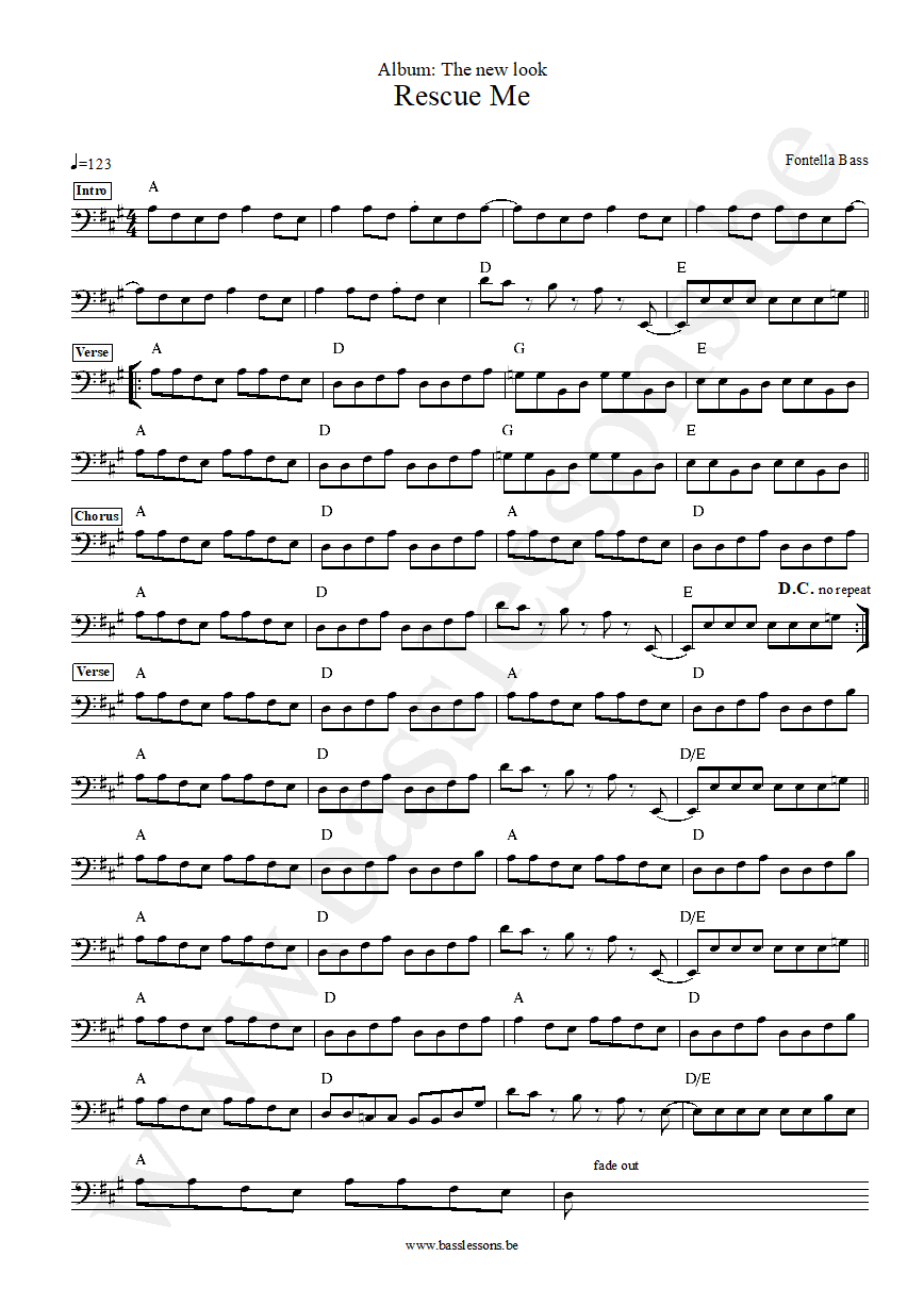 Fontella Bass rescue me bass transcription