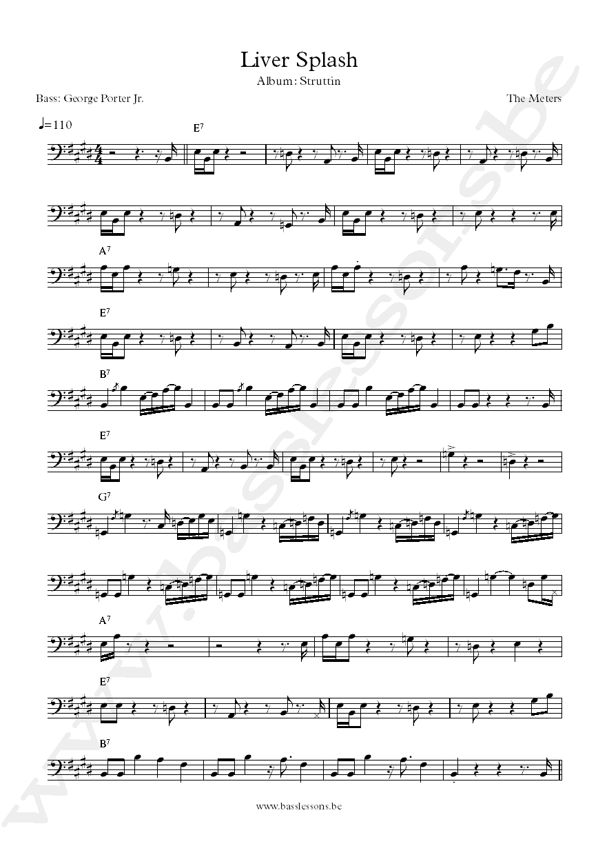 The Meters Liver Splash bass transcription