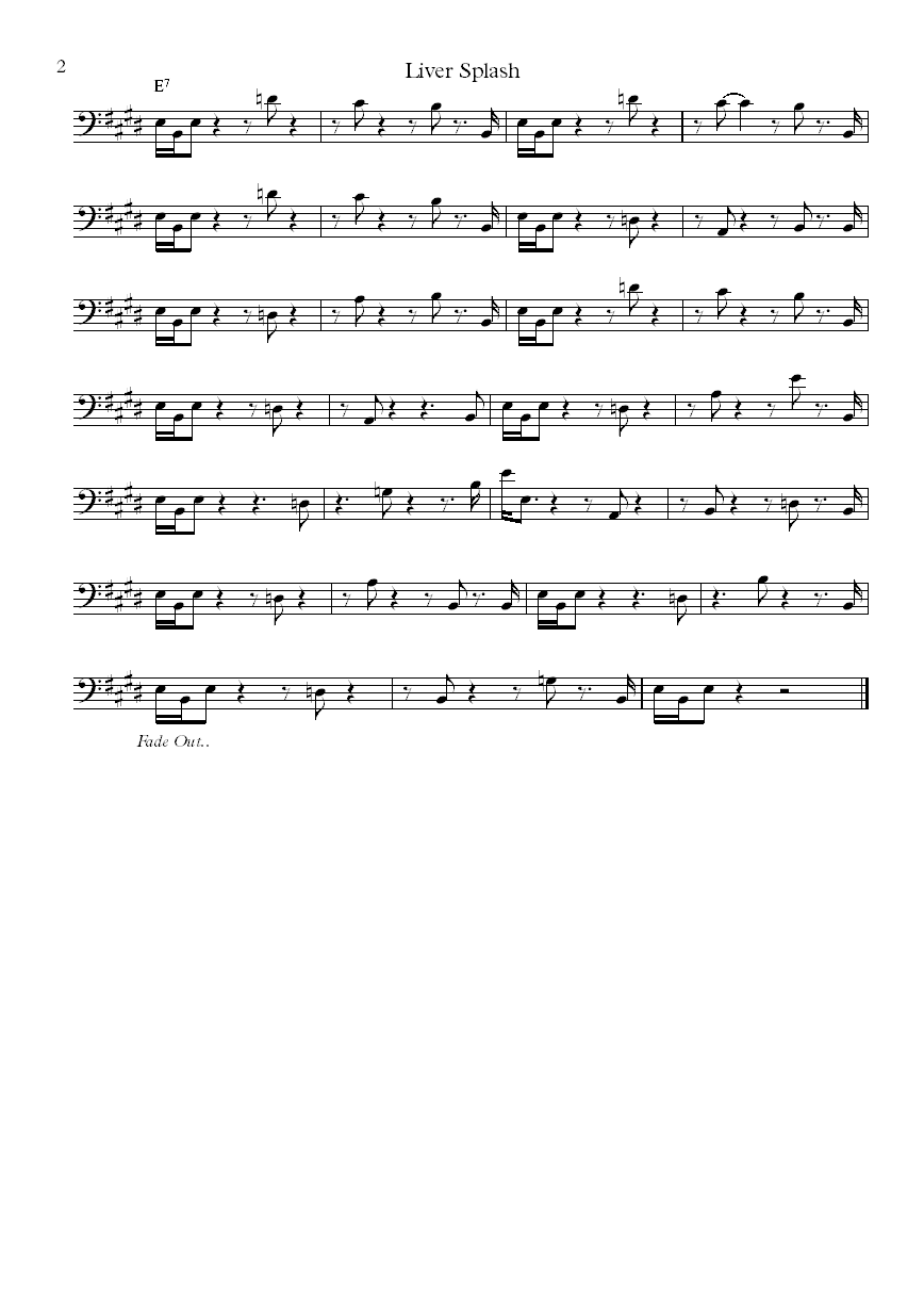 The Meters Liver Splash bass notation
