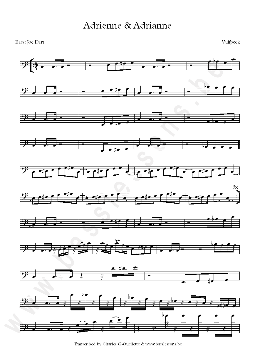 Vulfpeck bass transcription