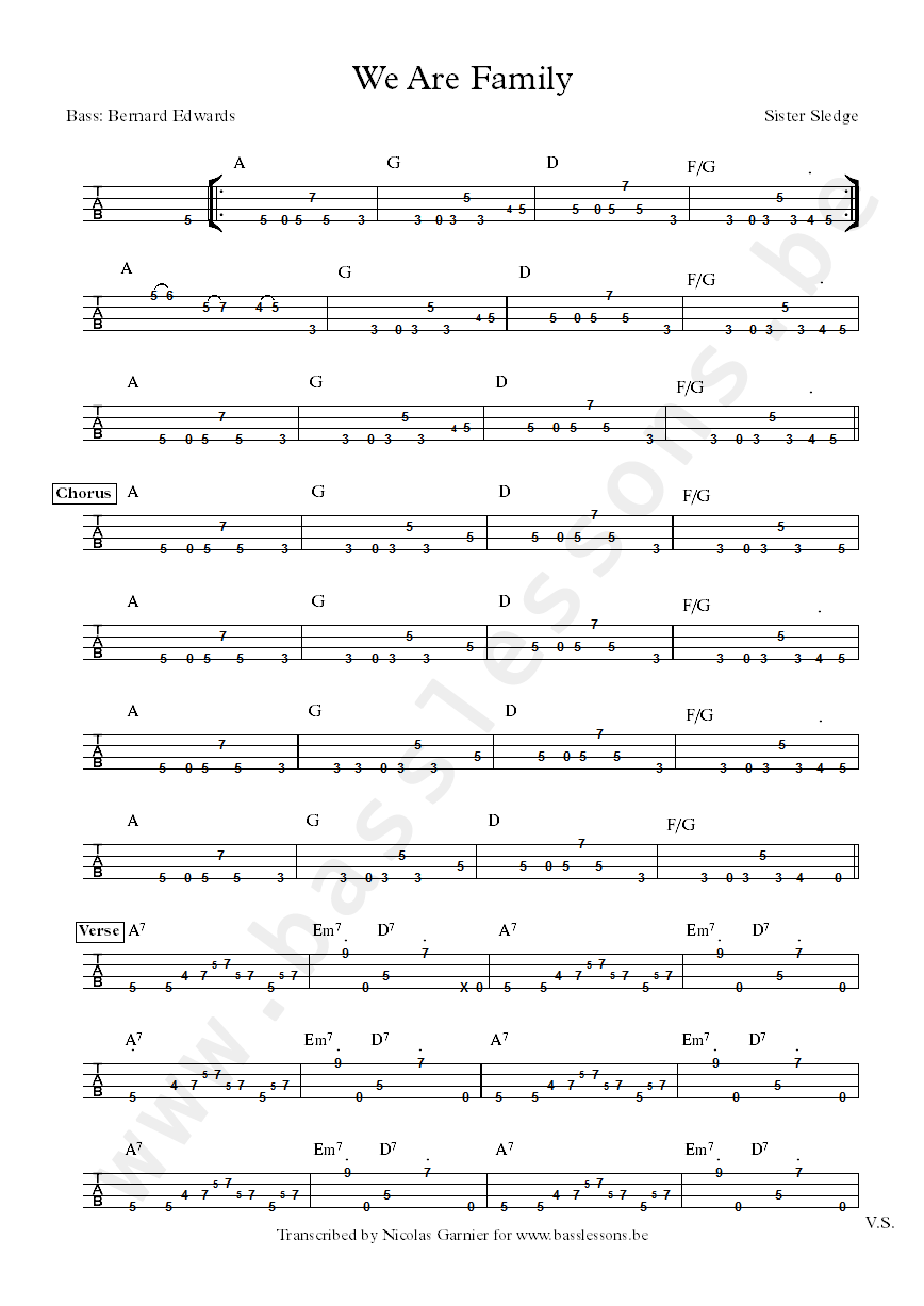 Sister Sledge we are family bass transcription