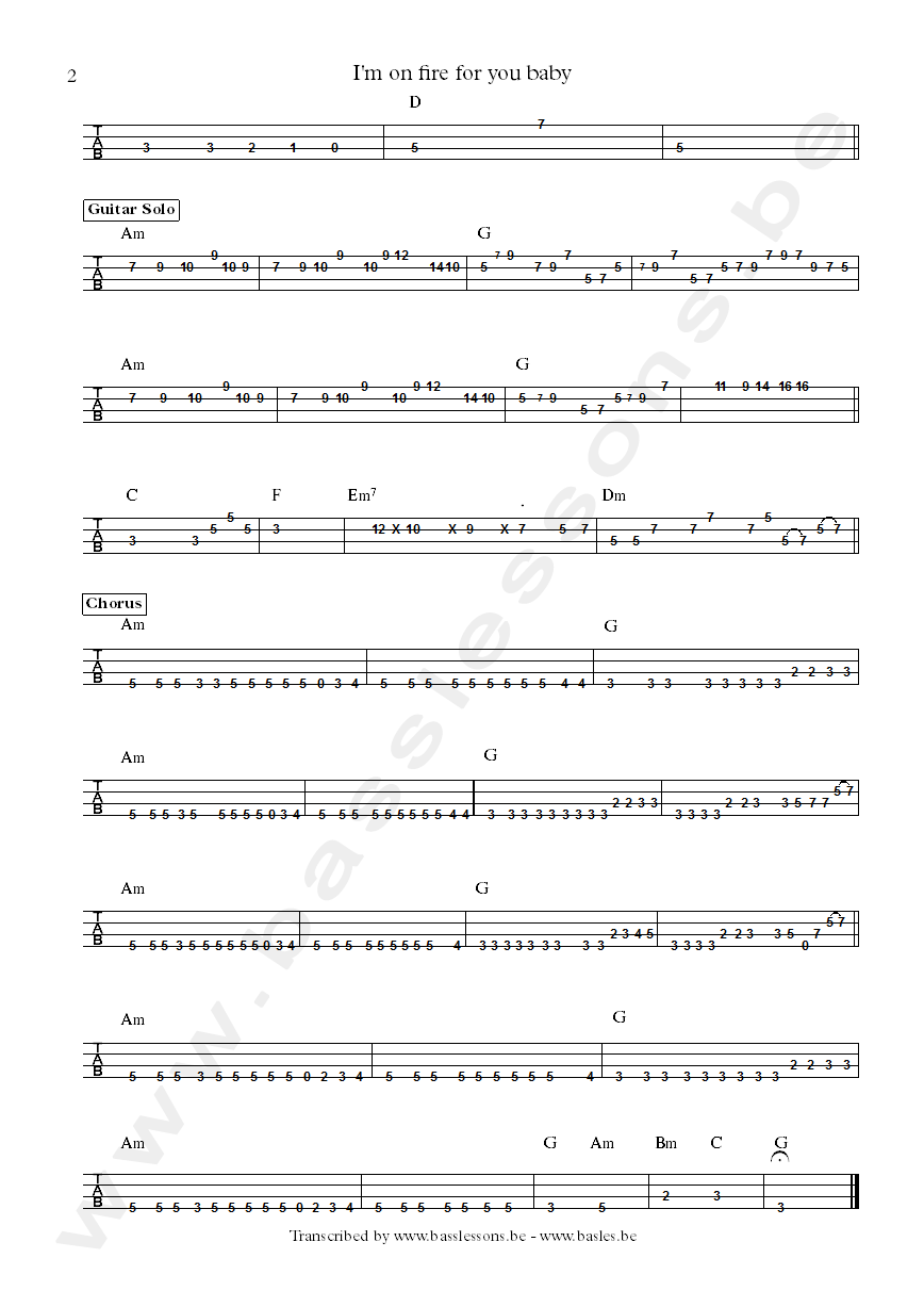 Rock ballad bass transcription