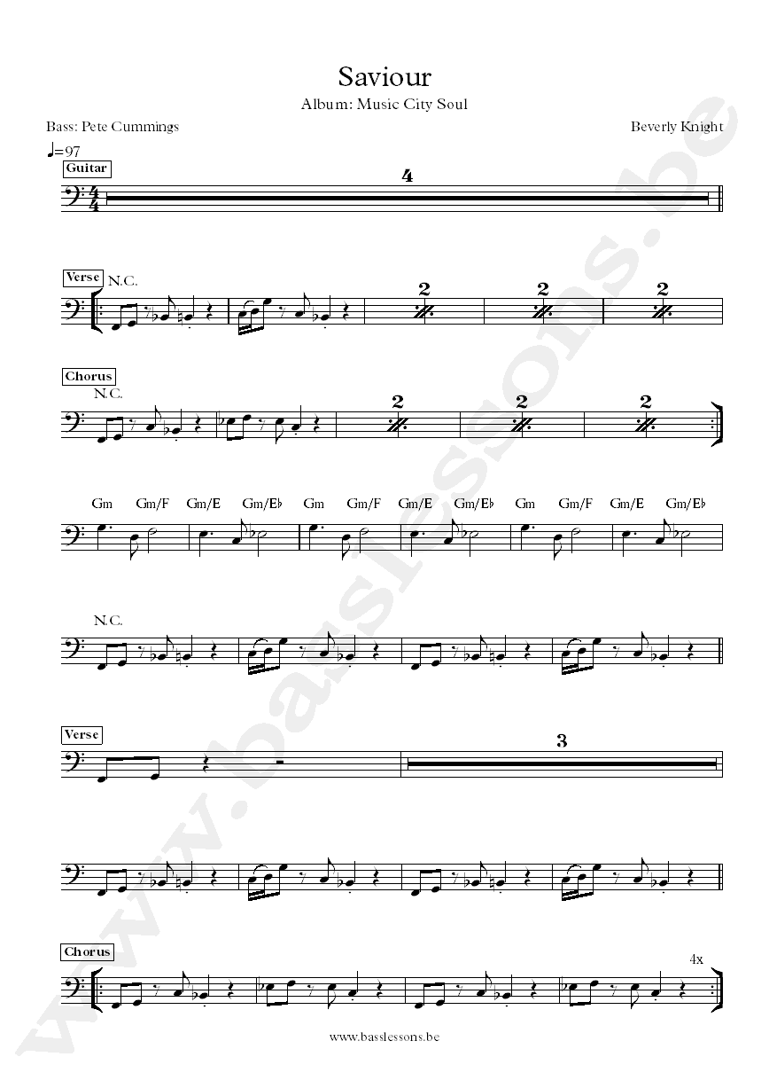 Beverly knight bass transcription