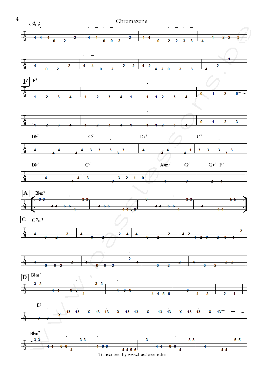 Mike Stern chromazone bass tab part 4