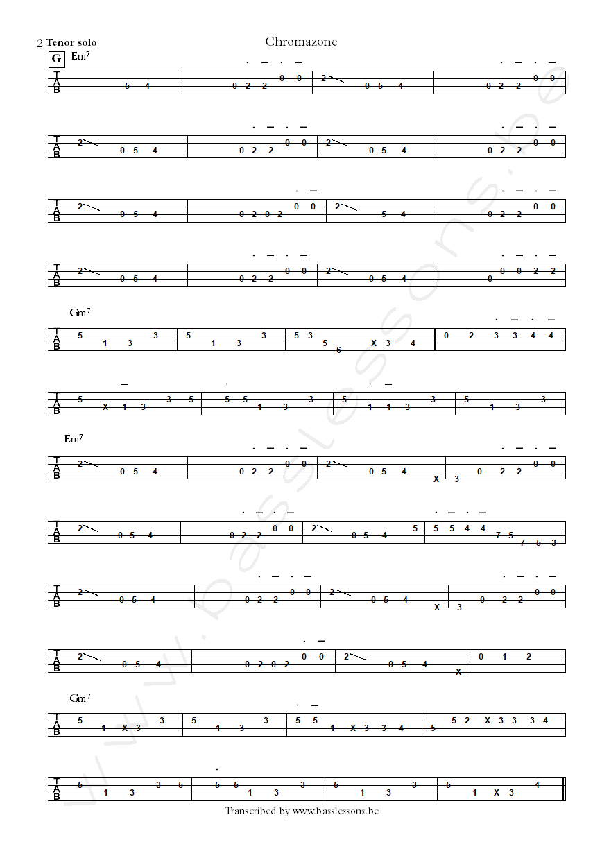 Mike Stern chromazone bass tab part 2