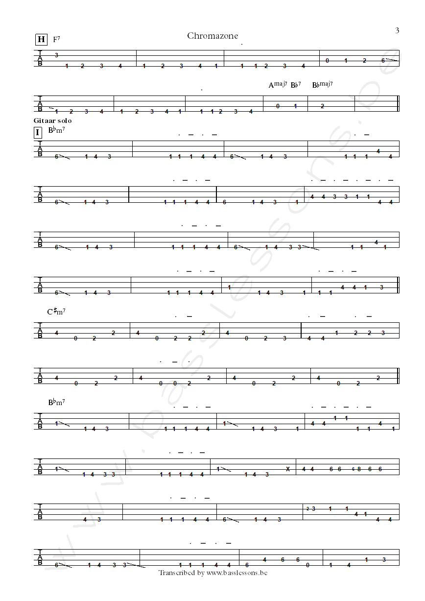 Mike Stern chromazone bass tab part 3