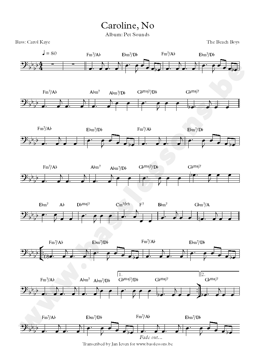 Beach boys caroline no bass transcription