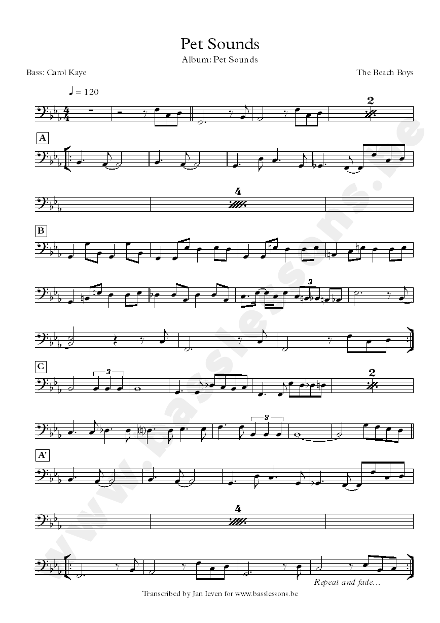 beach boys pet sounds bass transcription