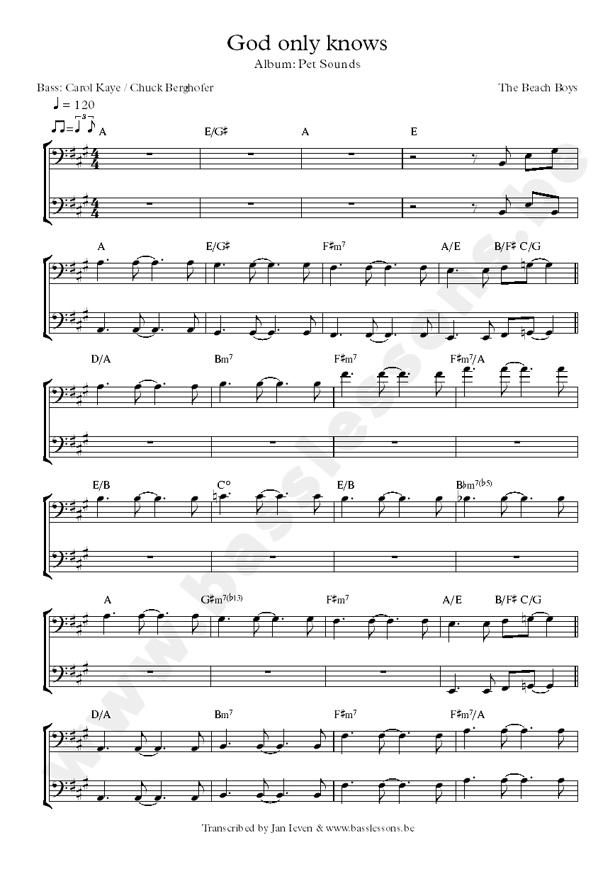 god only jnows bass transcription