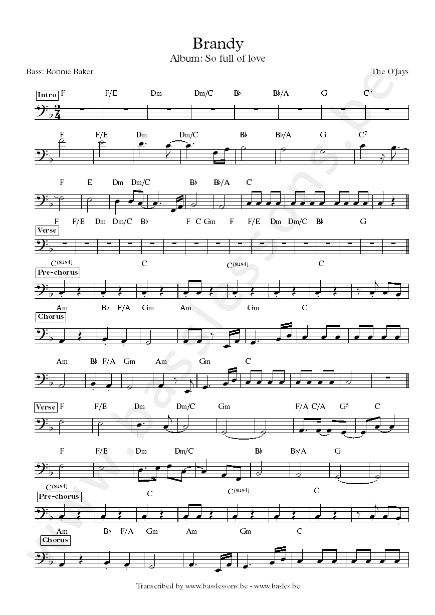 The ojays brand bass transcription
