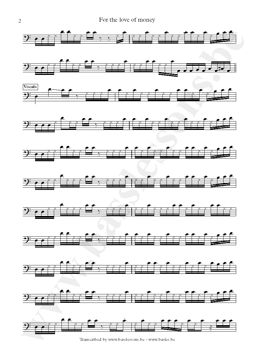 The ojays for the love of money bass transcription part 2