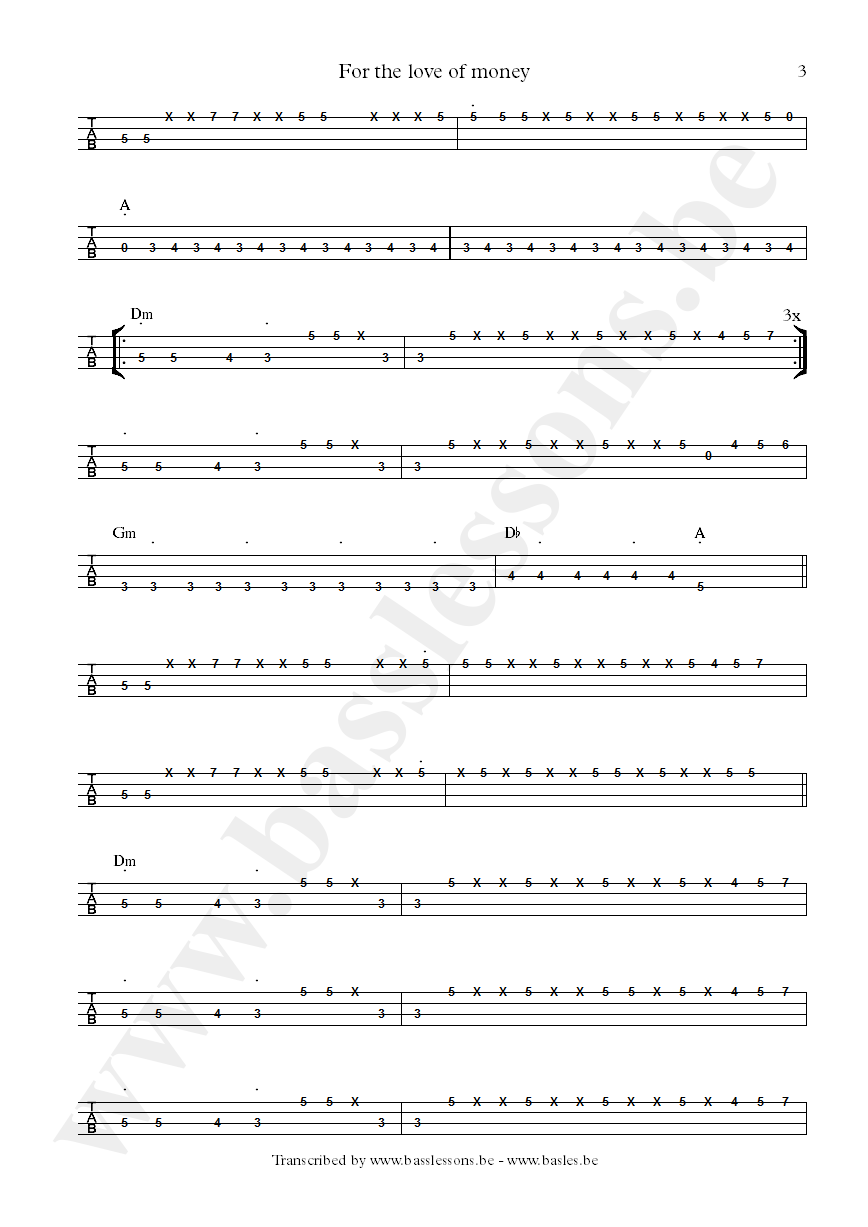 The ojays for the love of money bass tab part 3