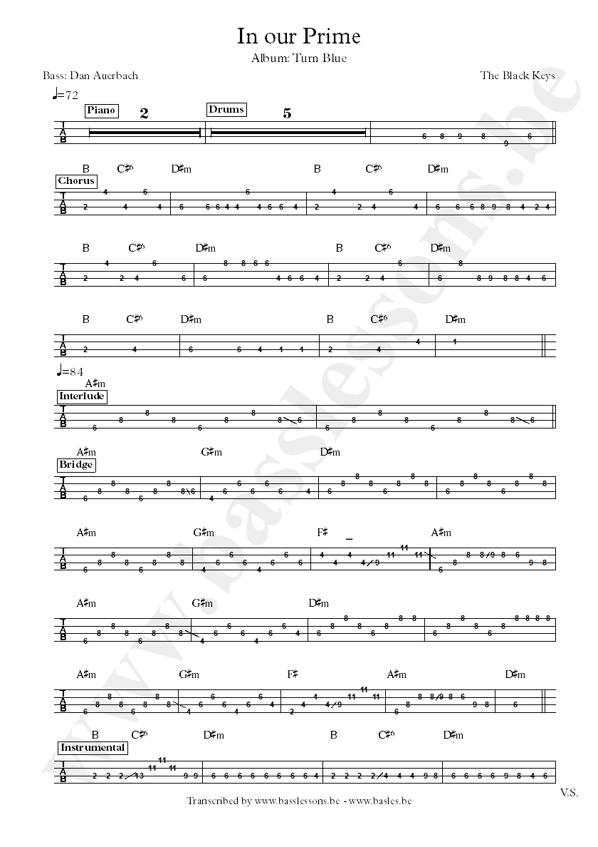 Black keys in our prime bass tab