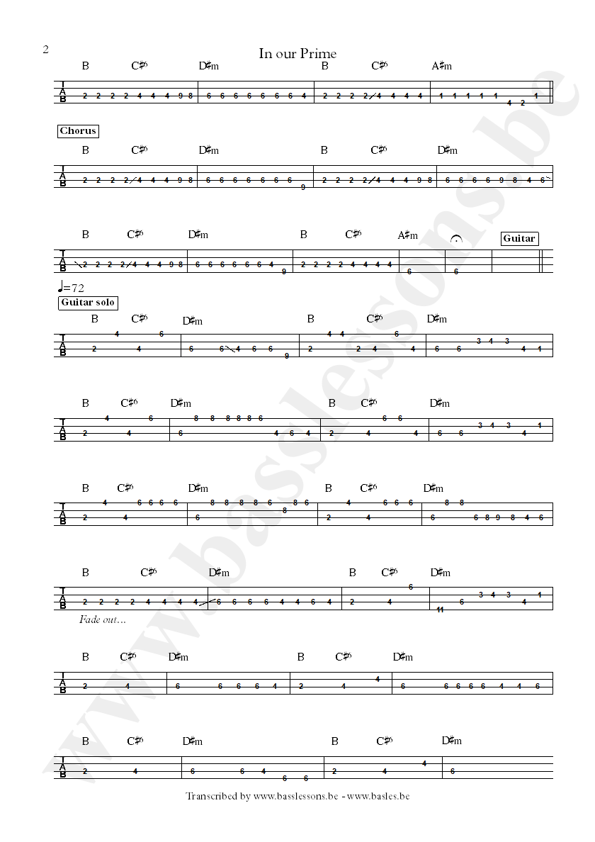 Black keys in our prime bass tab part 2