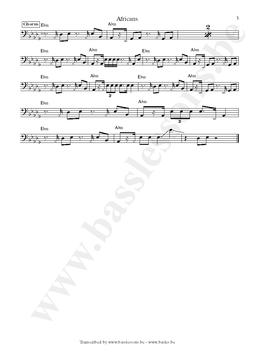 Nneka africans bass transcription part 3