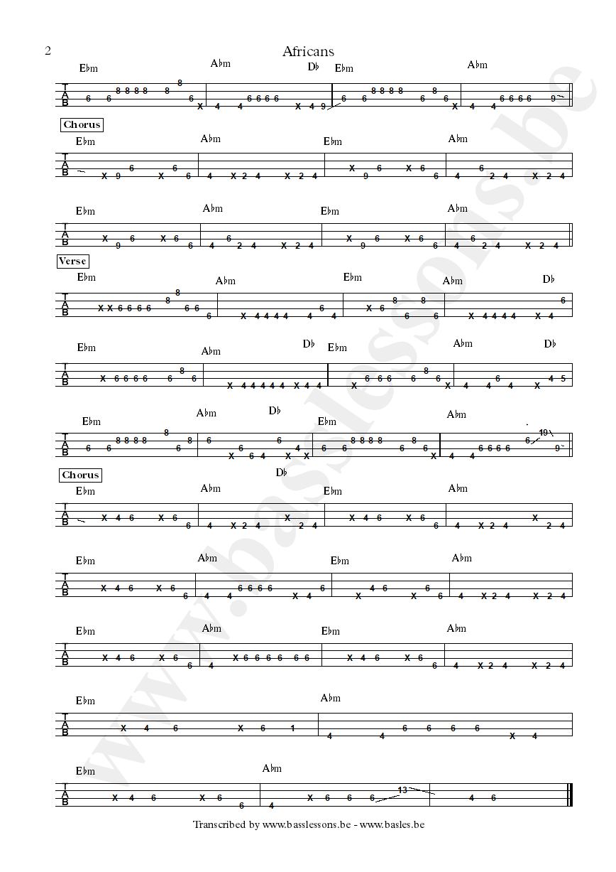 Nneka africans bass tab part 2