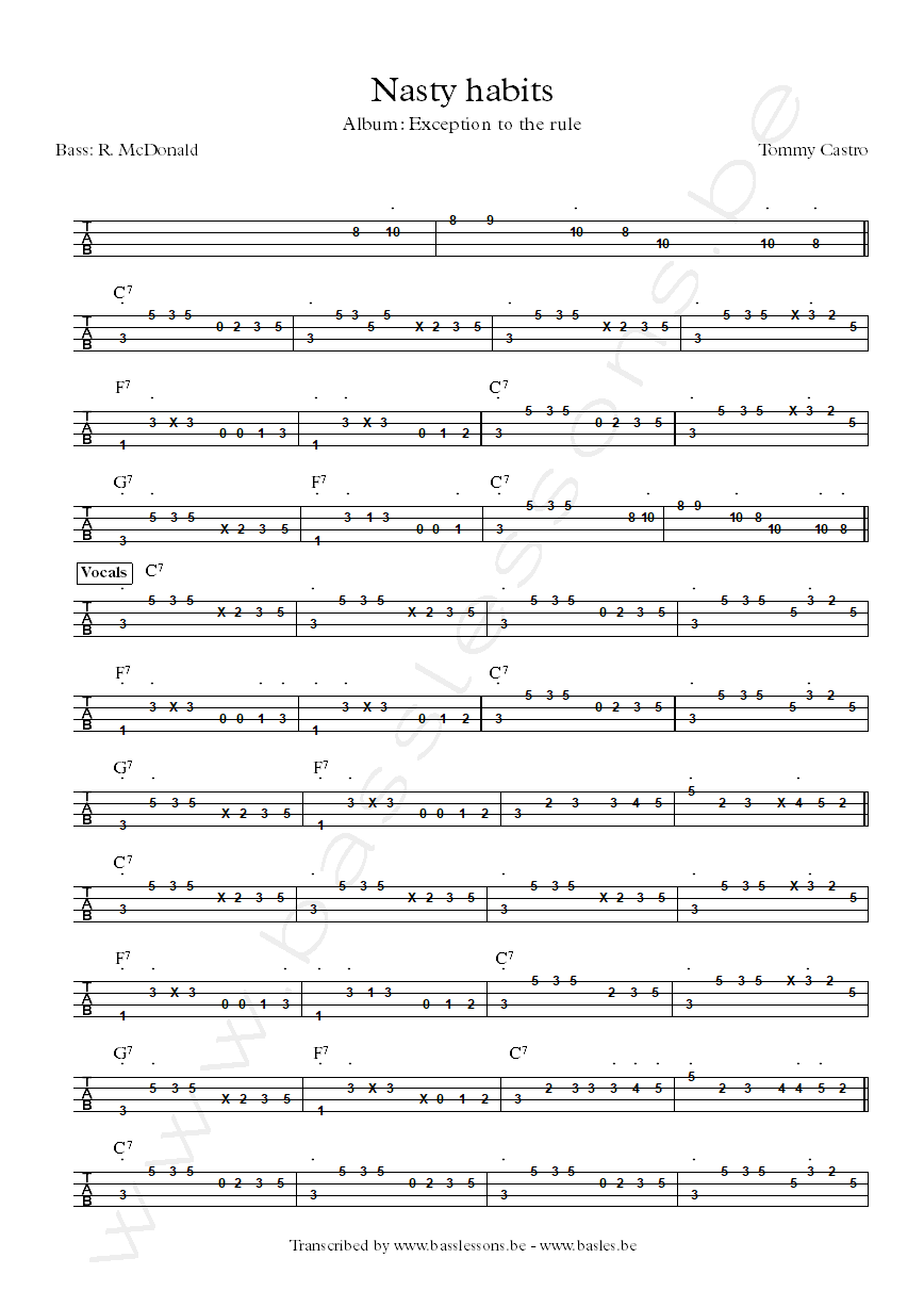 Tommy castro nasty habits bass tab