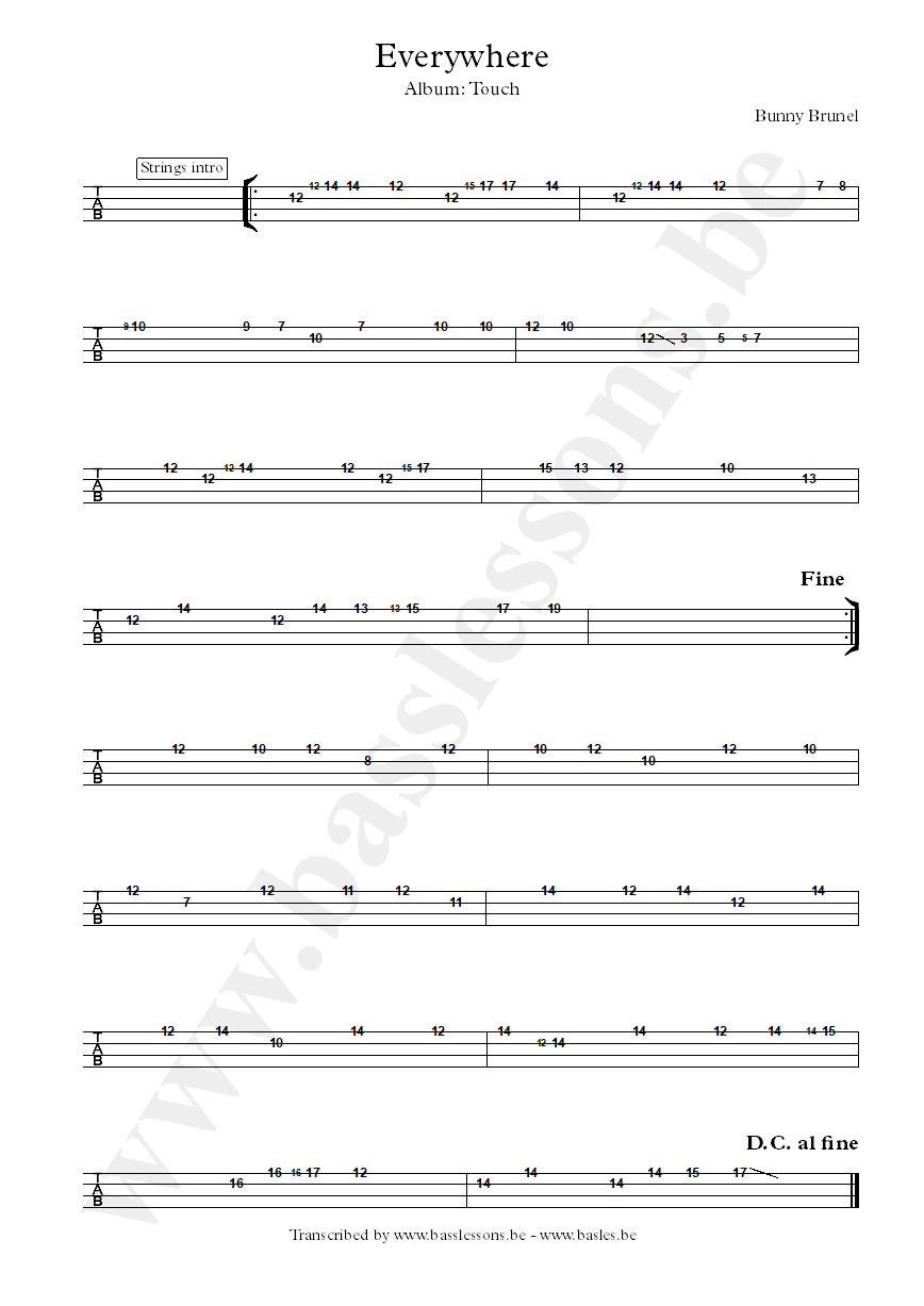 Bunny Brunel everywhere bass tab