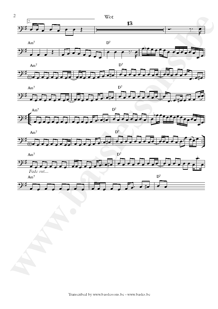 Captain sensible wot bass transcription part 2
