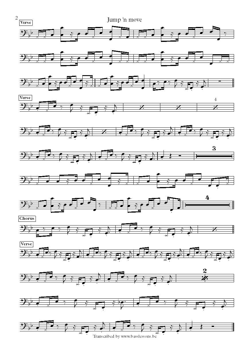 the brand new heavies jump and move bass transcription part 2
