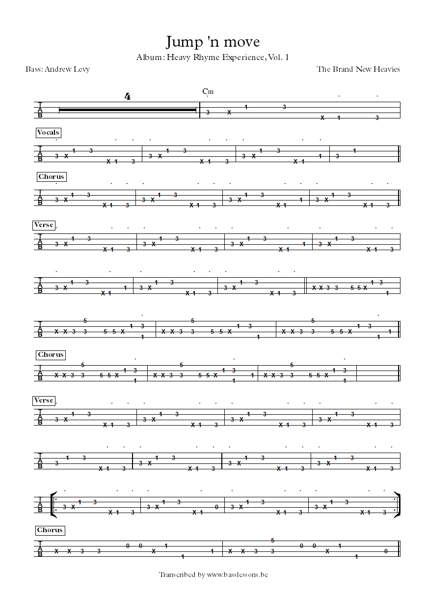 the brand new heavies jump and move bass transcription part 3
