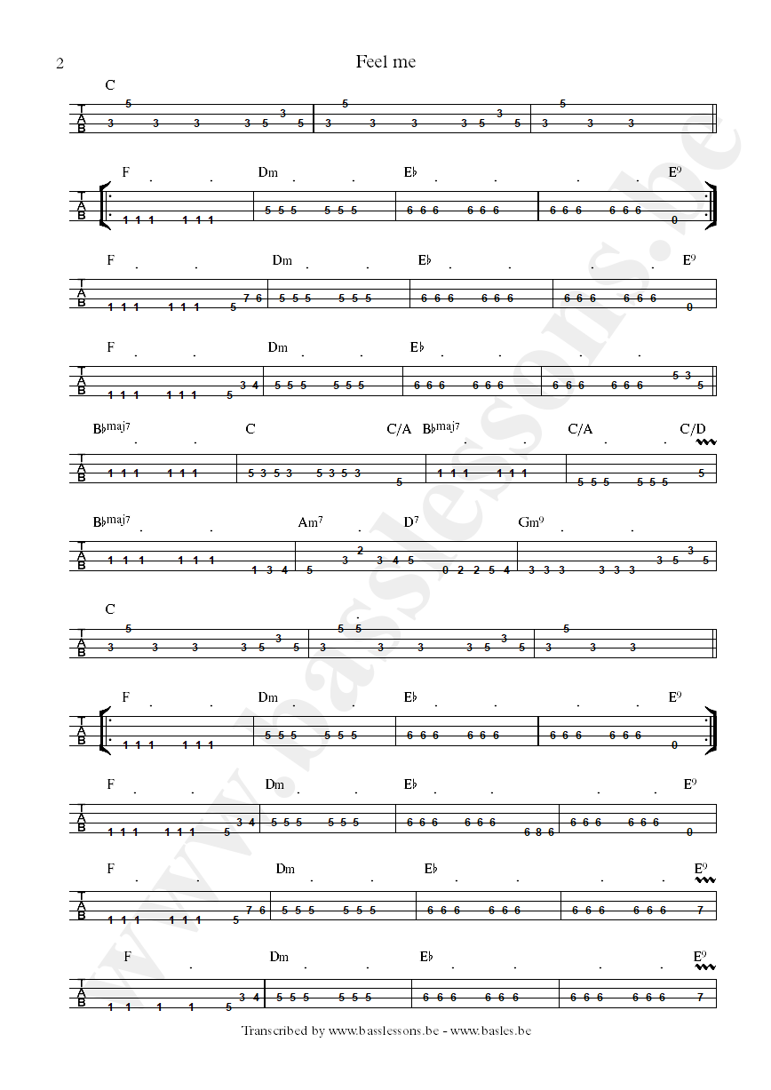 Cameo feel me bass tab part 2