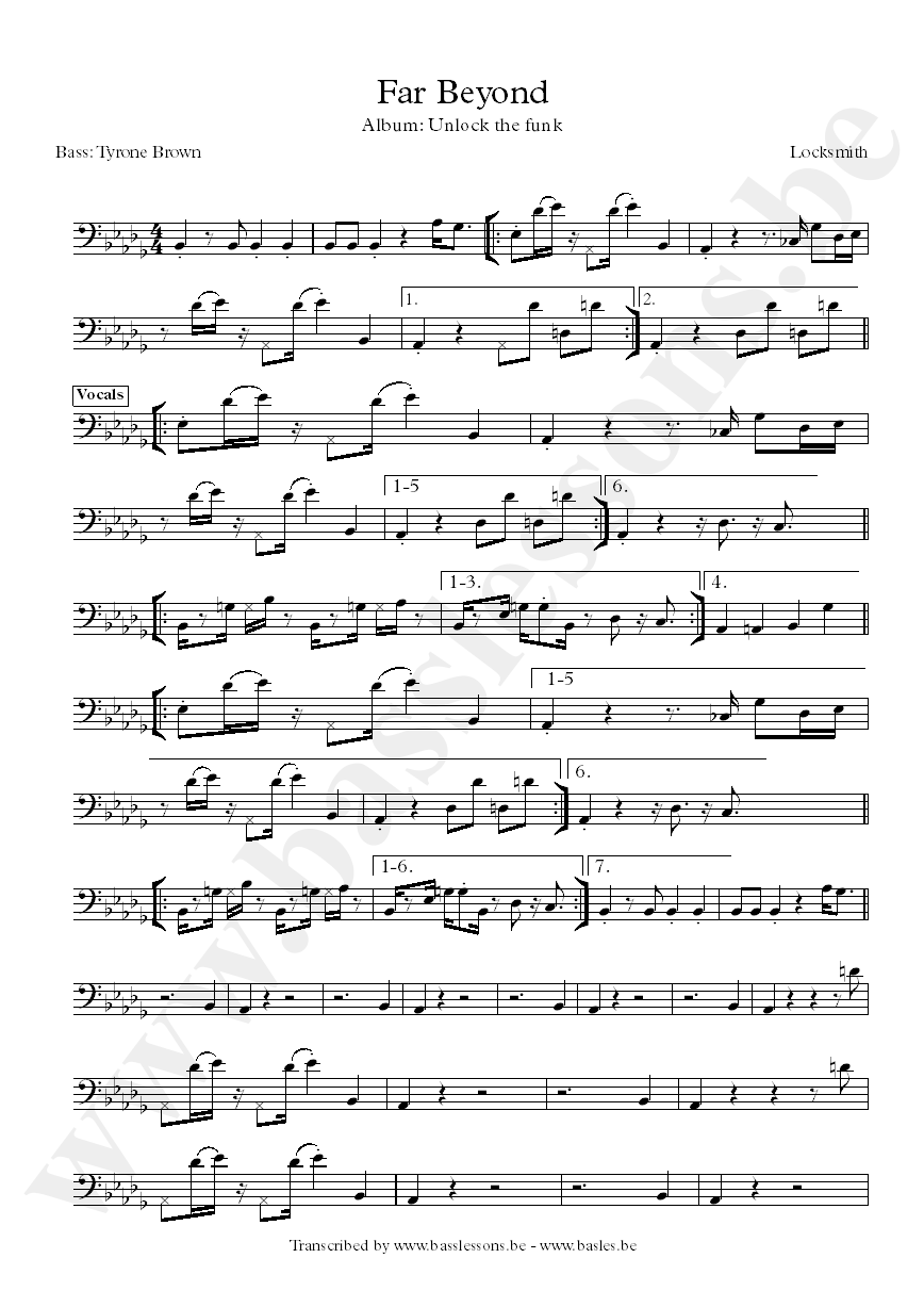 locksmith far beyond bass transcription