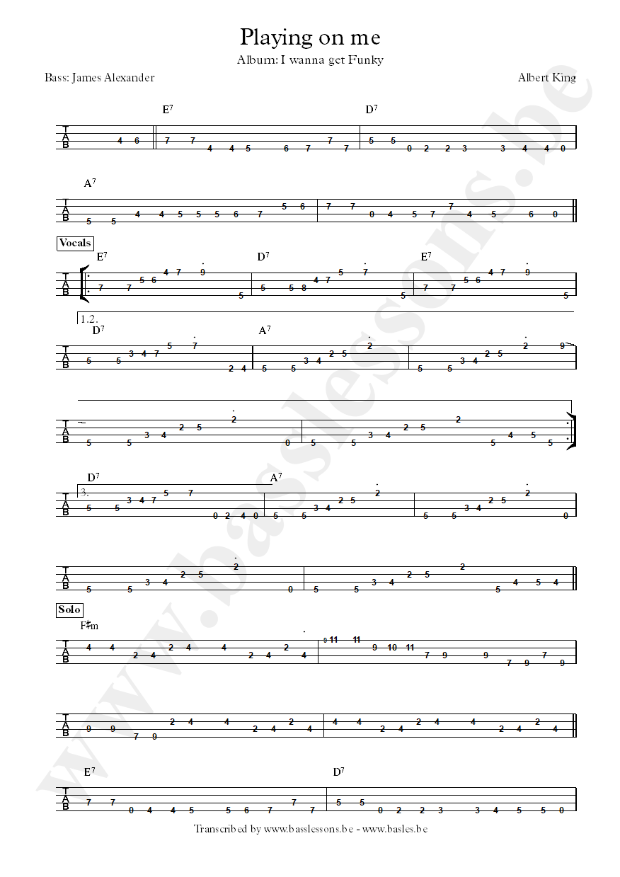 Albert king playing on me bass tab part 1