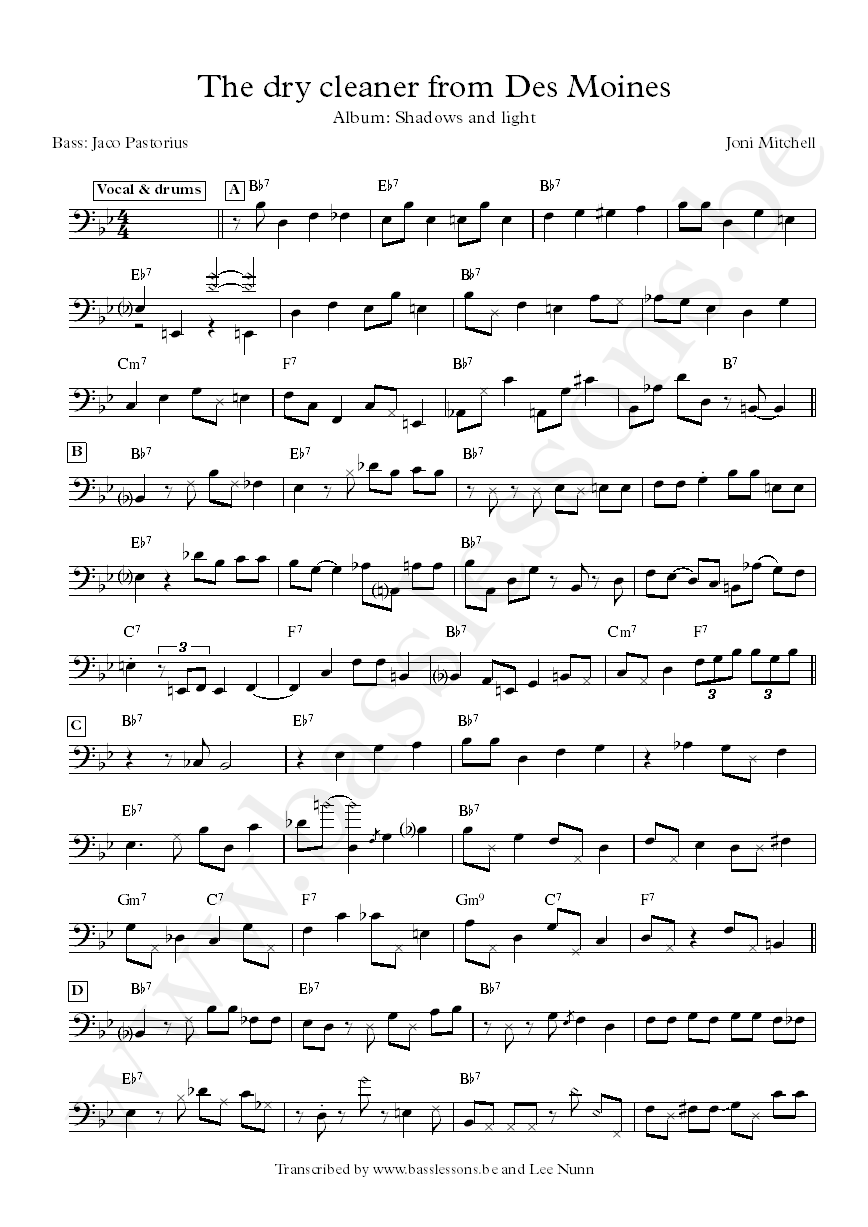 Joni mitchell the dry cleaner from des :oines bass transcription