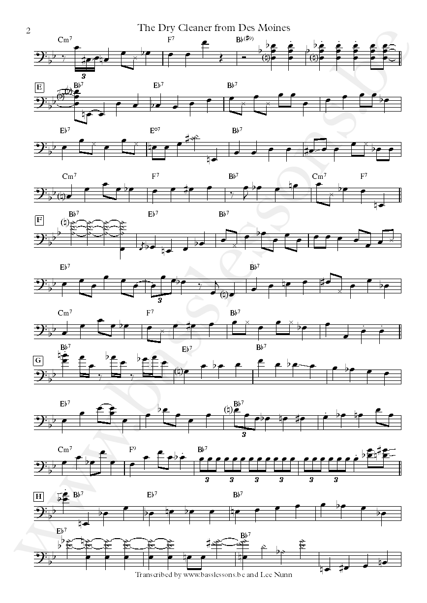 Joni mitchell the dry cleaner from des :oines bass transcription part 2