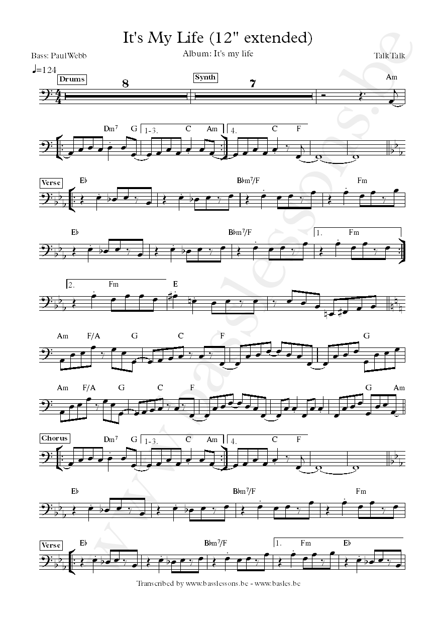 talk talk its my life bass transcription