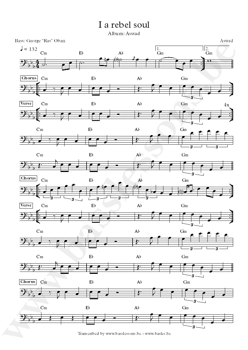 aswad i a rebel soul bass transcription