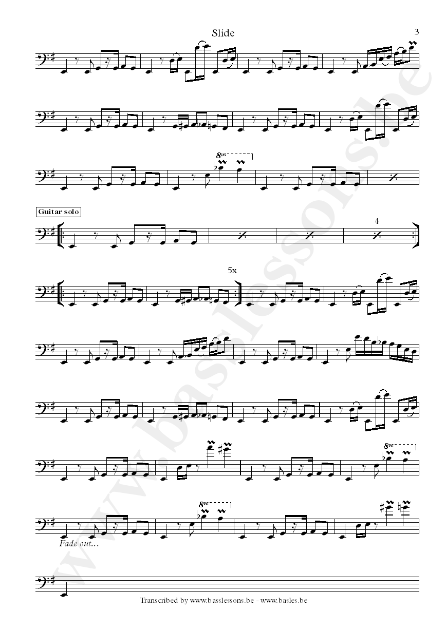 Slave slide bass transcription part 3