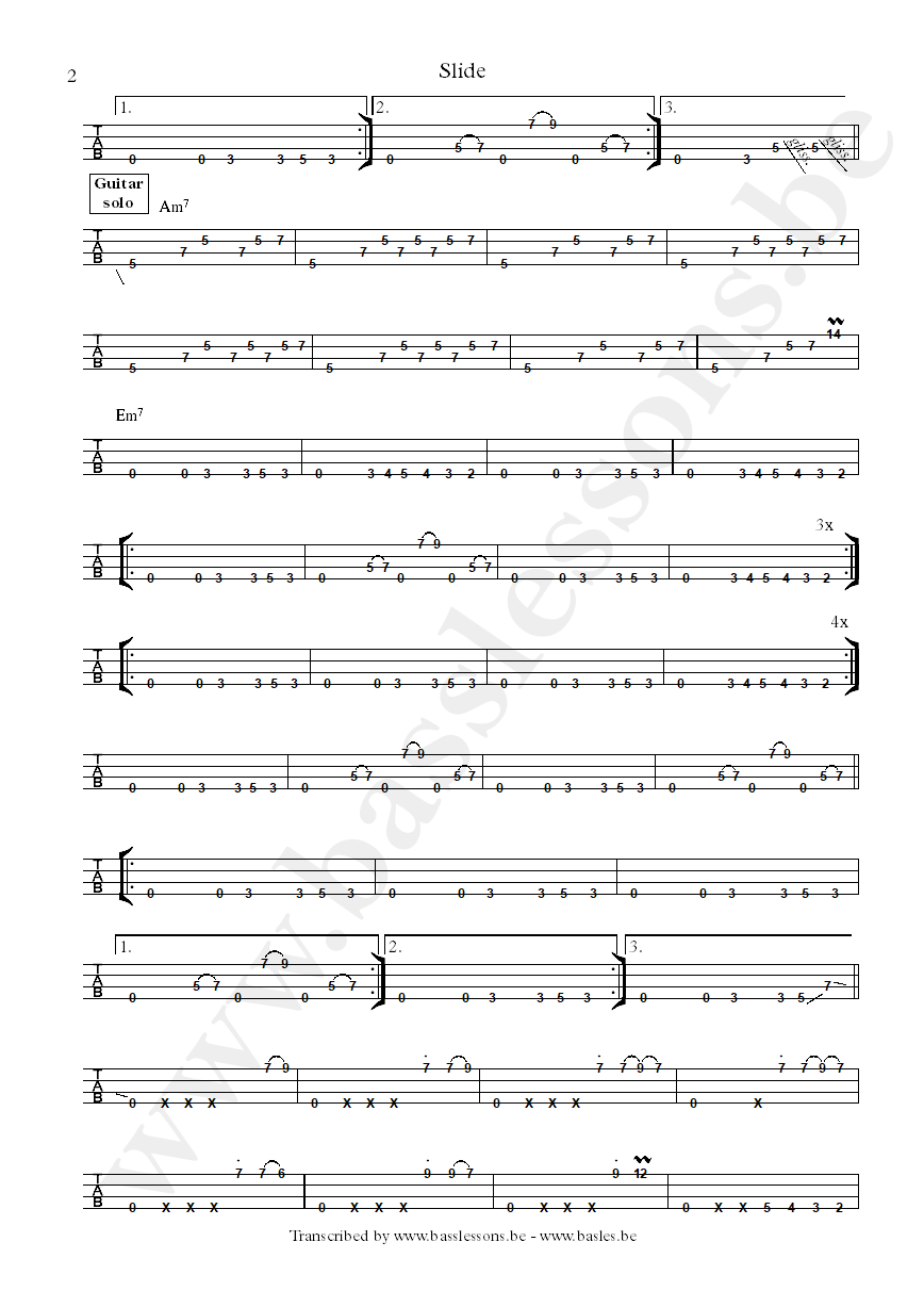 Slave slide bass tab part 2