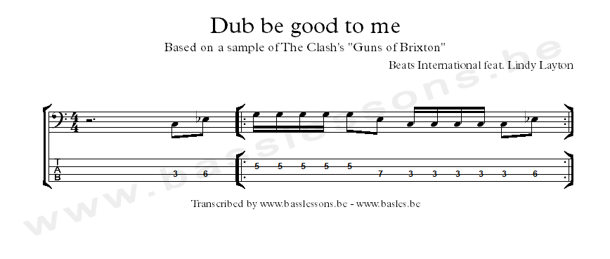 Dub be good to me bass notation and tab