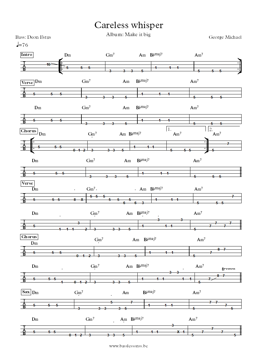 George Michael careless whisper bass tab