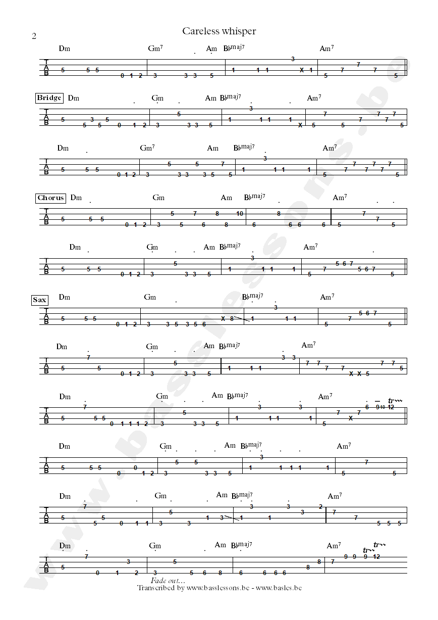 George Michael careless whisper bass tab part 2