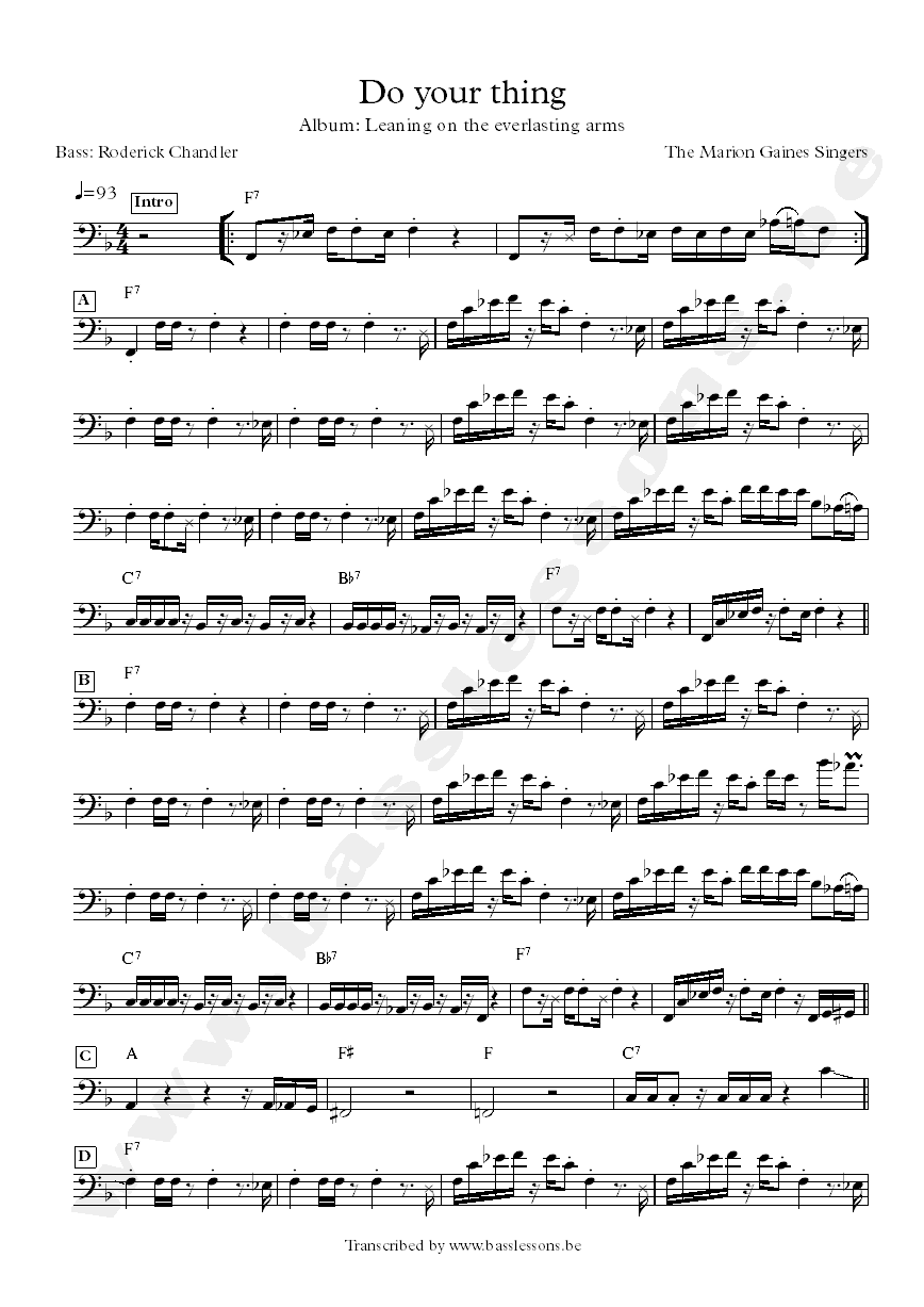Marion gaines singers bass transcription