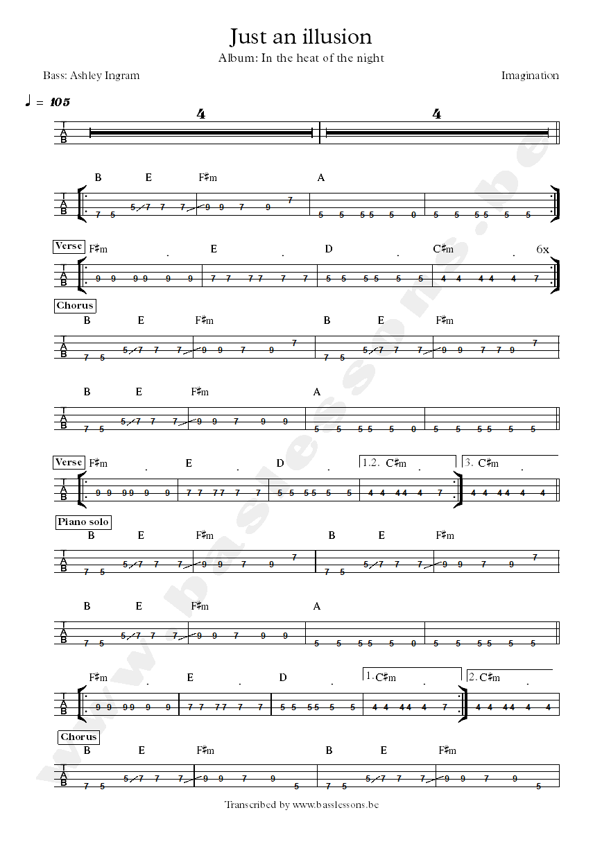 Imagination just an illusion bass tab