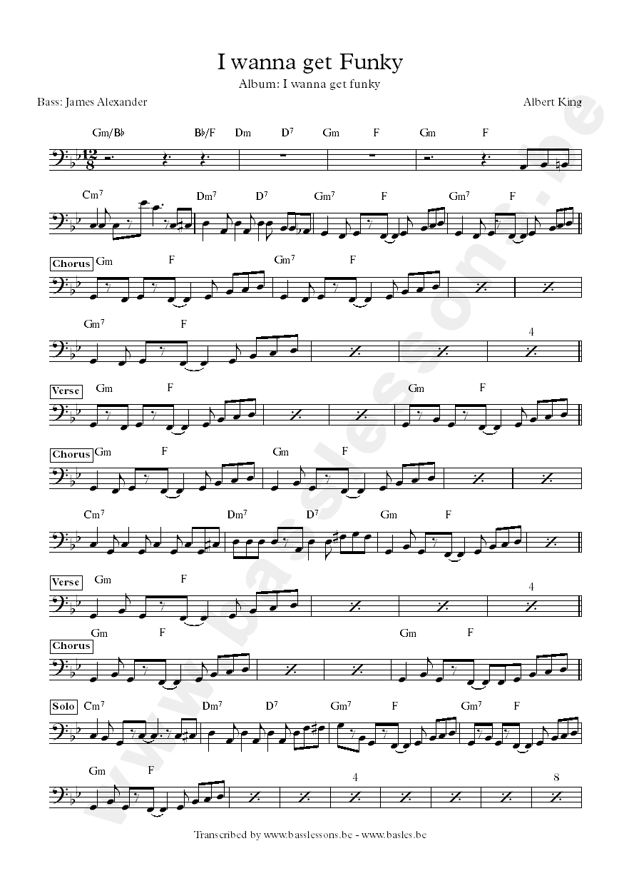 I wanna get funky bass transcription