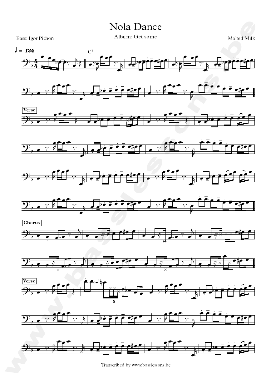 Malted milk nola dance bass transcription