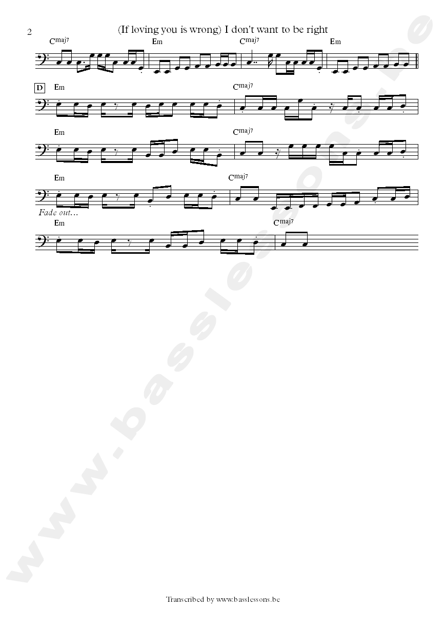 Luther ingram if loving you is wrong bass transcription part 2