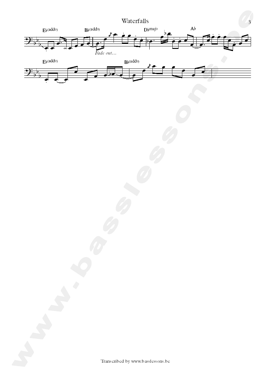 tlc wetrfalls bass ttranscription part 3